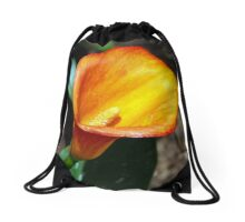 Blooming Orange Calla Lilly in the Garden Drawstring Bag