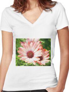 Macro Pink Cinnamon Tradwind Daisy Flower in the Garden Women's Fitted V-Neck T-Shirt