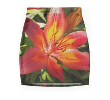 Glowing Fiery Red Lilly in the Garden Mini Skirt
