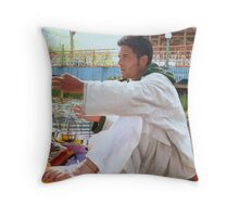 A floating shop on the Dal Lake Throw Pillow