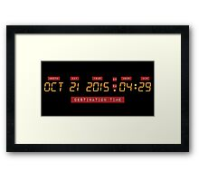 Back to the Future Oct 21, 2015 4:29 DeLorean Numbers Framed Print