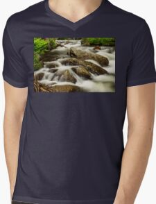 Cascading Water and Rocky Mountain Rocks Mens V-Neck T-Shirt