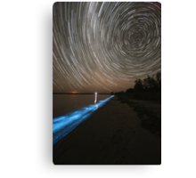 Bioluminescence with Star Trails Canvas Print
