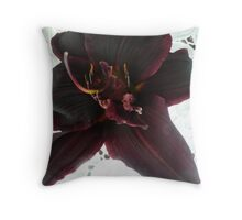 A Dark Burgundy Day Lily. Throw Pillow