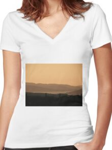 Mellow Evening over Donegal Ireland Women's Fitted V-Neck T-Shirt