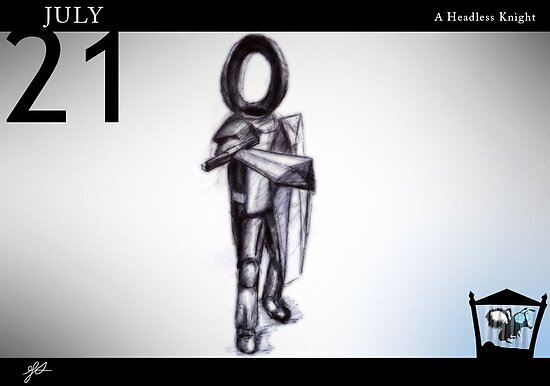 July 21st - A Headless Knight by 365 Notepads -  School of Faces