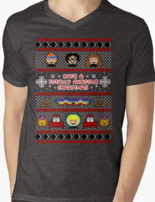 Totally Awesome Ugly Christmas Sweater + Card Mens V-Neck T-Shirt