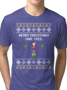 Dangerous Christmas Sweater + Card Tri-blend T-Shirt