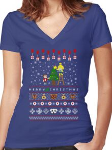 Animal Town Christmas Sweater + Card Women's Fitted V-Neck T-Shirt
