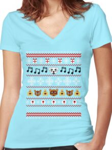 Animal Town Christmas Sweater + Card 2 Women's Fitted V-Neck T-Shirt