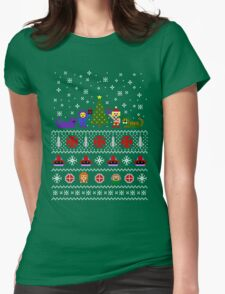 80s Christmas Sweater + Card Womens Fitted T-Shirt