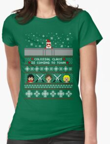 Colossal Claus Sweater + Card  Womens Fitted T-Shirt