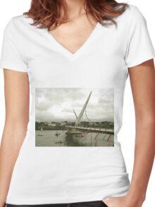 Derry Peace Bridge -  Derry Ireland Women's Fitted V-Neck T-Shirt