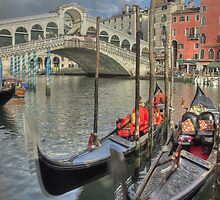 Venice Gondalos at Rialto Bridge by MartinWilliams