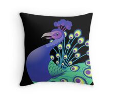 A splendid green and blue Peacock Throw Pillow