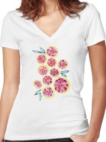 Sliced Grapefruits Watercolor Women's Fitted V-Neck T-Shirt