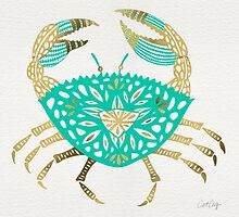 Crab – Turquoise & Gold by Cat Coquillette