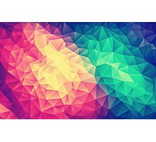 Abstract Polygon Multi Color Cubism Triangle Design Photographic Print