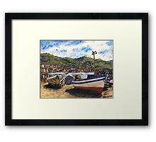 Corfu Beached Fishing Boats Framed Print