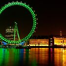 Green Night Colors - London Eye  by DavidGutierrez