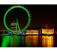 Green Night Colors - London Eye  Photographic Print