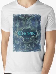 Frederick Chopin Blue Mens V-Neck T-Shirt