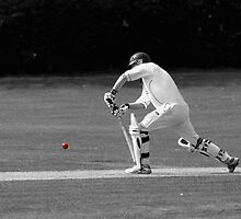 Cricketer in black and white with red ball by Chris Day