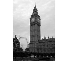 Big Ben and the Eye in Black and White Photographic Print