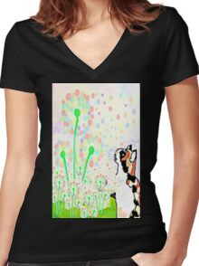 Make a wish Women's Fitted V-Neck T-Shirt