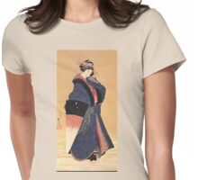 'Beauty with Umbrella in the Snow' by Katsushika Hokusai (Reproduction) Womens Fitted T-Shirt