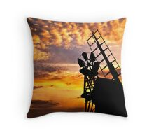 Turf Fen Mill at Sunset Moody Sky Throw Pillow