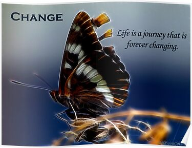 Butterfly of Change Motivational Poster by Val  Brackenridge