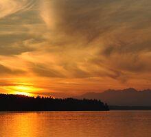 Sunset on Puget Sound V2 by Jerome Petteys