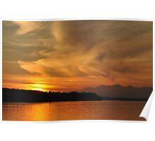 Sunset on Puget Sound V2 Poster