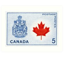 Canada 1964 series Maple Leaf stamp and Coat of Arms Art Print