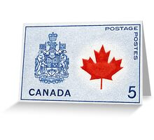Canada 1964 series Maple Leaf stamp and Coat of Arms Greeting Card