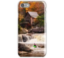 Glade Creek Grist Mill in Autumn, Kayakers iPhone Case/Skin