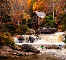 Glade Creek Grist Mill in Autumn, Kayakers by KellyHeaton