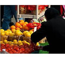 Amish Lady Shopping for Fruit  Photographic Print