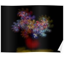 Flowers in Red vase Poster