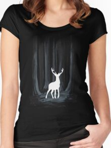 Glowing White Stag Women's Fitted Scoop T-Shirt
