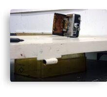 camera door, photograph, temporary assemblage  Canvas Print