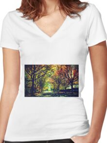 Autumn In Canberra Women's Fitted V-Neck T-Shirt