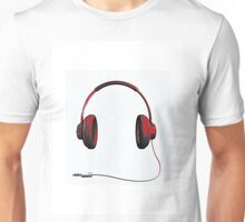 Red Headphones Unisex T-Shirt