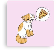 Orange and white Pizzacat Canvas Print