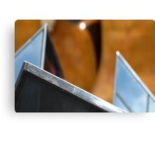 Henry Moore's knife edge and Glass Pyramids Canvas Print