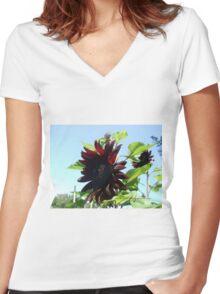 black sunflowers 2015 Women's Fitted V-Neck T-Shirt