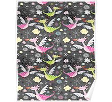 cheerful pattern of dragons Poster