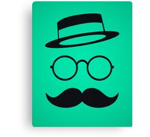 Retro / Minimal vintage face with Moustache & Glasses Canvas Print
