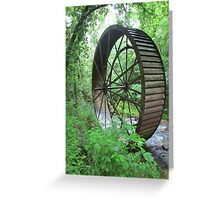 Giant mill wheel rolled off down the river Greeting Card
